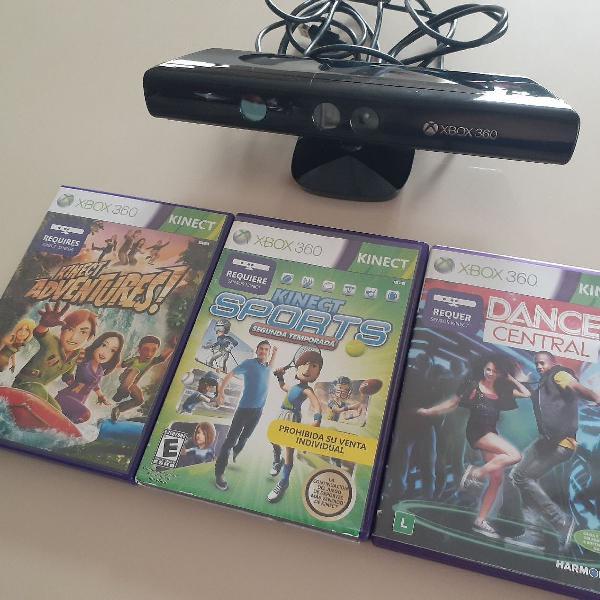 Kinect Xbox 360 + 3 Jogos
