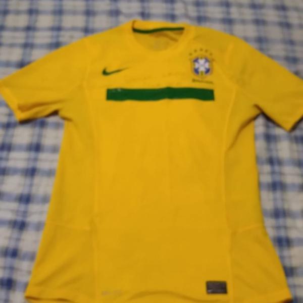 camiseta seleção brasileira autografada