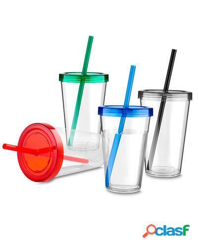 copo de acrílico com tampa personalizado