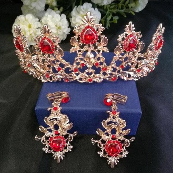 coroa tiara vermelha+brincos festa de 15 anos noiva