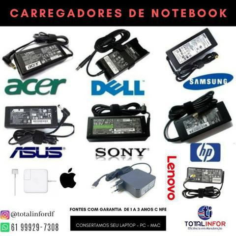 Carregador Notebook Dell - Hp - Asus - Acer e Mac - 1 Ano