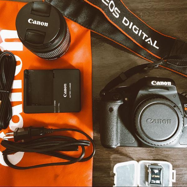 canon t3i com lente 18-55mm+ cartão de memória 16gb