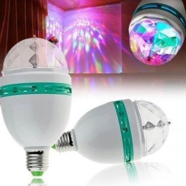 lampada giratória de led bola maluca colorida