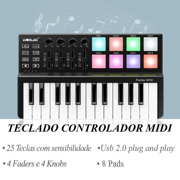 teclado controlador midi usb 25 teclas, excelente para