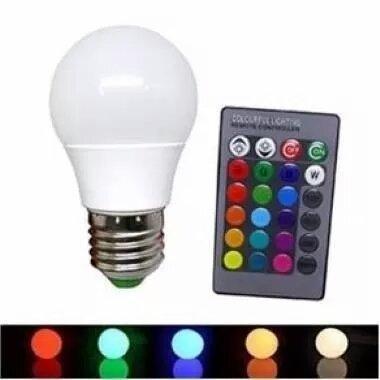 Lâmpada Bulbo Led Rgb 3w E27 Bivolt Colorida Controle