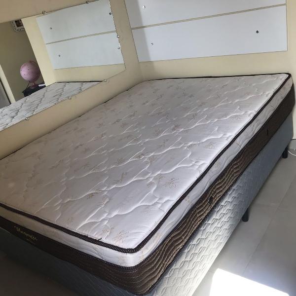 cama box casal + colchão casal ortobom + cabeceira