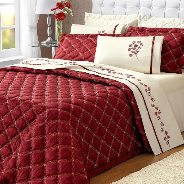 cobre leito casal vermelho super king 03 peças anita
