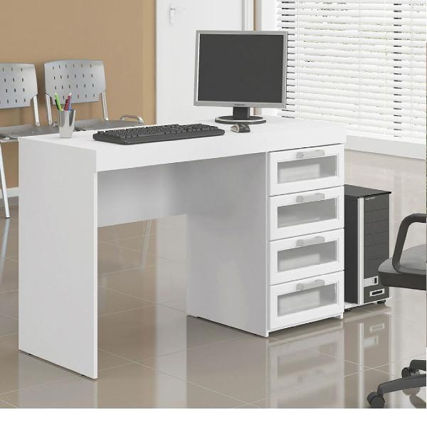 mesa de escritório branca em mdf, gavetas com frontal de