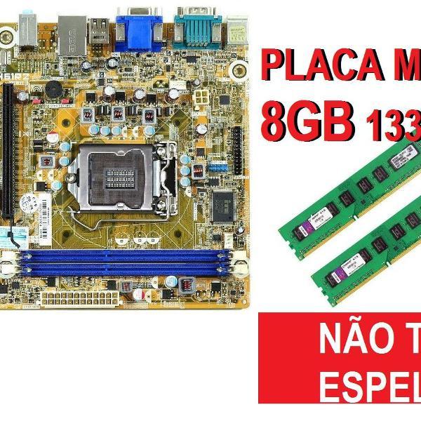 placa mãe lga 1155-pcware ipmh61r2(bios w10)sem espelho+8gb