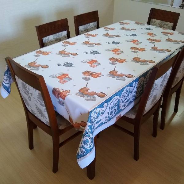 toalha mesa térmica holambra bca/dourada 1.4 x 2,00m