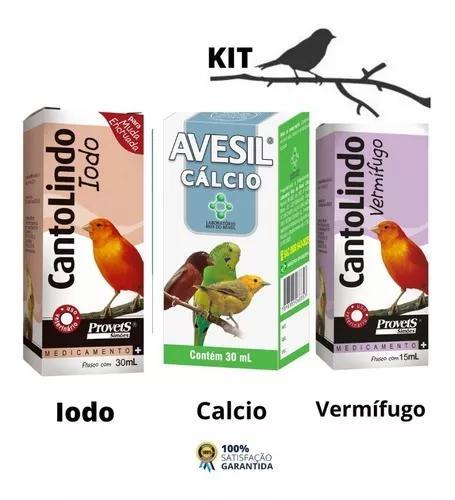 Kit Canto Lindo Iodo Vermífugo E Cálcio Avesil
