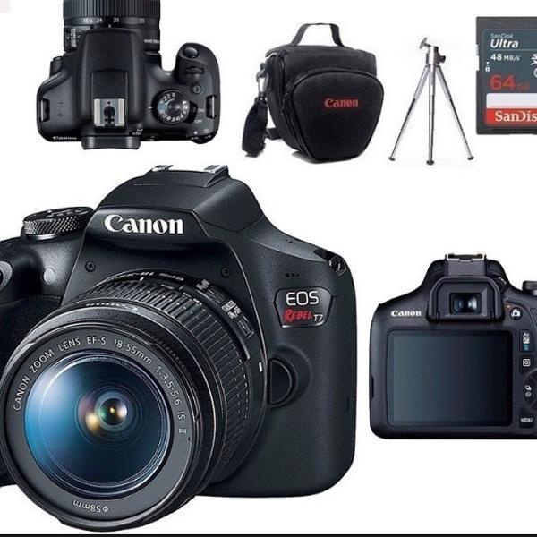 câmera profissional canon t7 18-55 cartão de 64gb