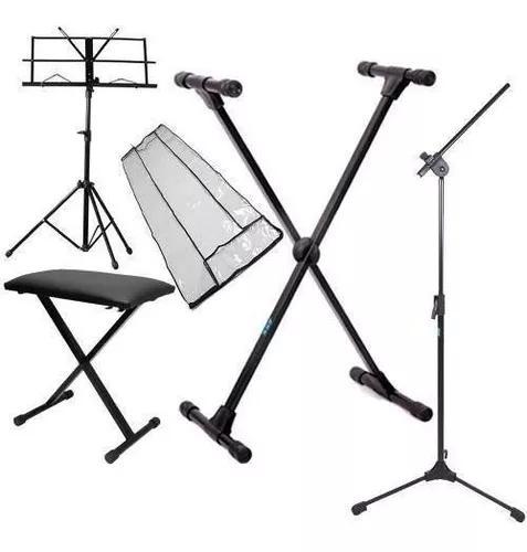 Kit Acessórios Para Teclado Musical + Pedestal De Microfone