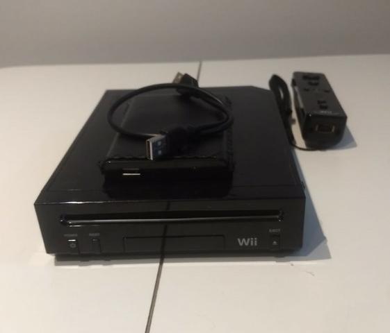 Wii Black Desbloqueado + HD com 107 jogos + 2 controles (1