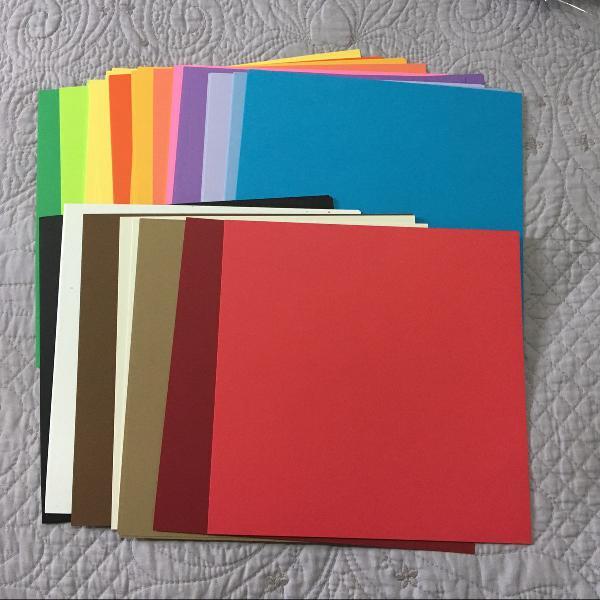 kit com 60 folhas de papel colorset cardstock tamanho
