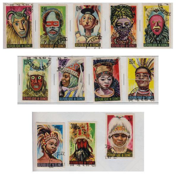 lote 13 selos postais antigos - guiné 1965 nativos mascaras