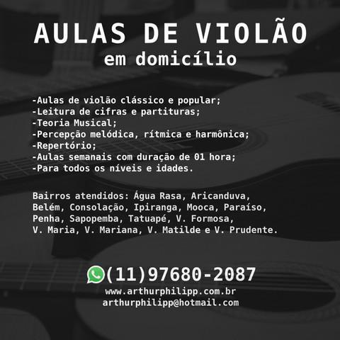 Aulas de violão em domicílio em São Paulo