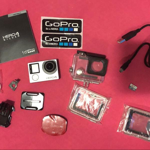 câmera filmadora gopro hero 4 silver 4k full hd
