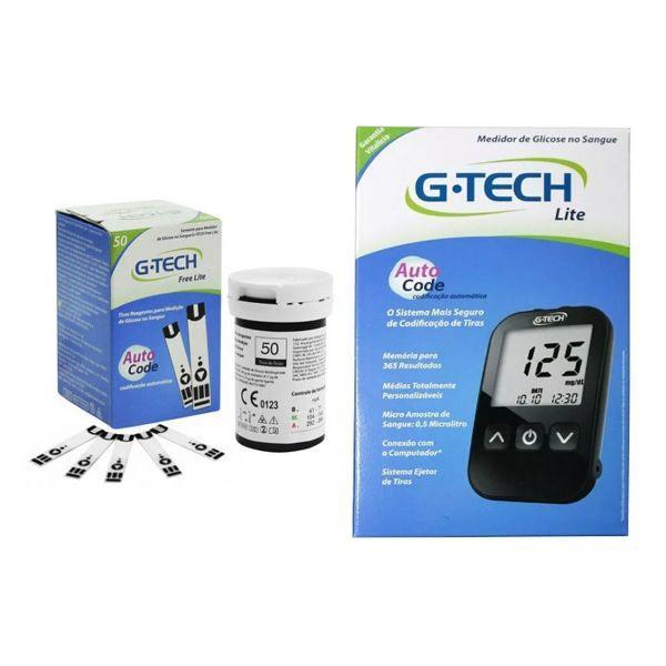 kit aparelho de glicemia + 50 tiras - g-tech free lite