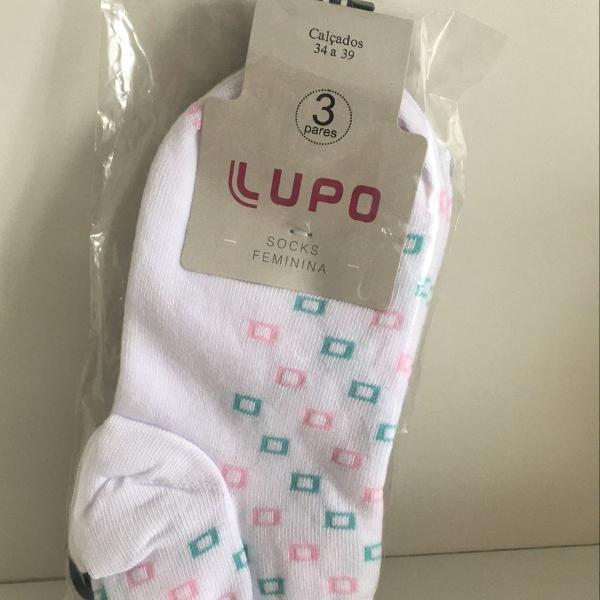 kit com 03 pares de meias originais feminina lupo socks (