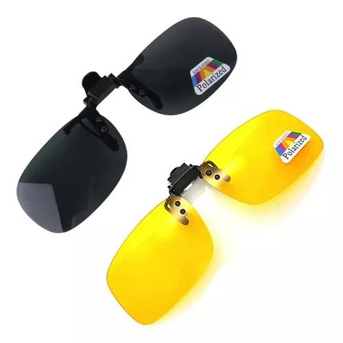 2 Óculos Clip On Com Uv400 E Polarizado Sol E Night Drive