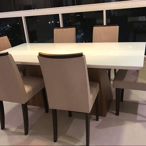 mesa tampa vidro branca com seis cadeiras