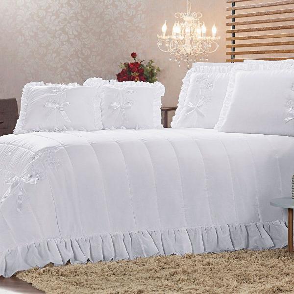 cobre leito cama queen voil kit lua de mel 7 peças