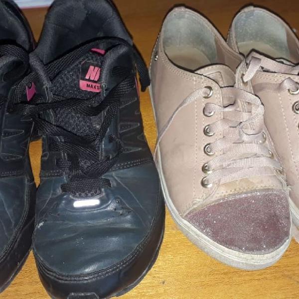 dois pares de tênis Nike e Raphaela booz