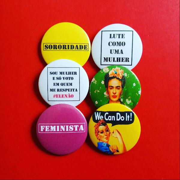 kit (6) bottons: Frida, sororidade e feminismo