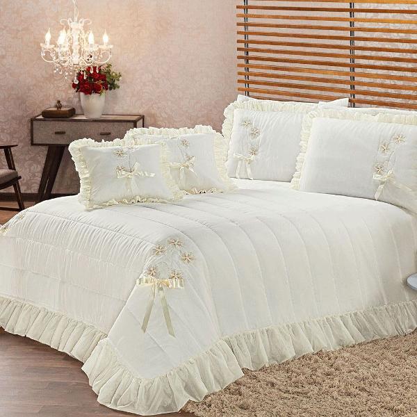 kit colcha cobre leito cama king lua de mel 7 peças