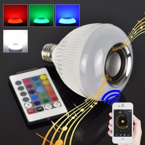 Lâmpada Led Caixa De Som Bluetooth Musical Com Controle Rgb