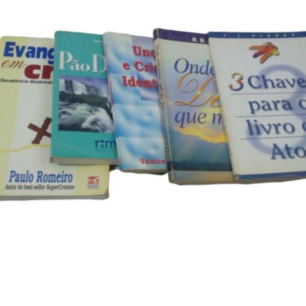 lote c/ 5 livros evangélicos usados.