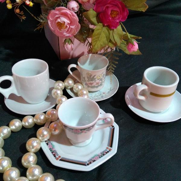 kit 04 peças xícaras em porcelana luxo diversas