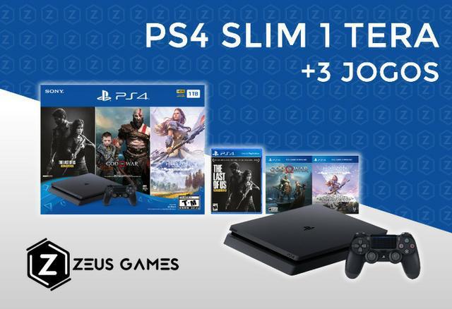 PS4 Slim 1 Tera Novo + 3 Jogos - Garantia - 12x no cartão -