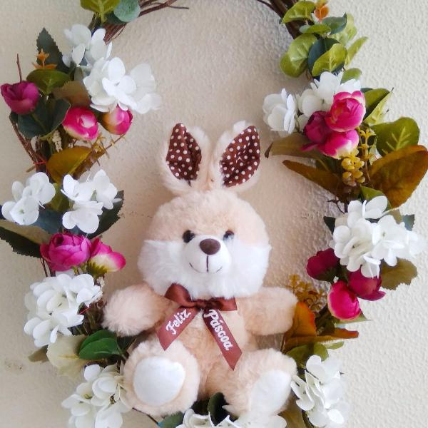 Linda Guirlanda Feliz Páscoa Decoração para Porta ou