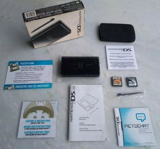 Nintendo DS Lite Preto Novissímo Completo Com 17 Jogos