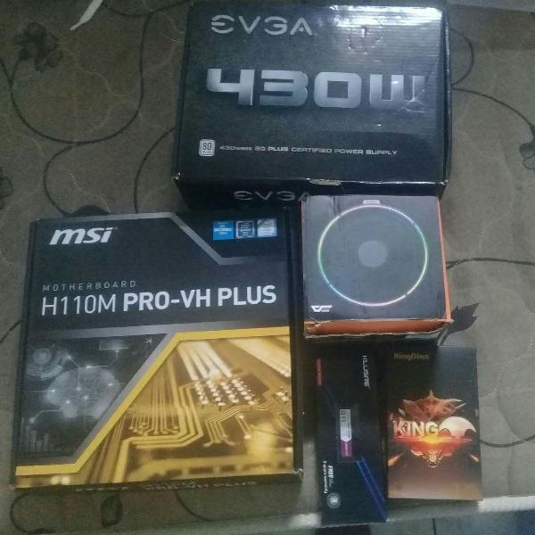 Placa mãe, memória ram, fonte, HD, cooler box e