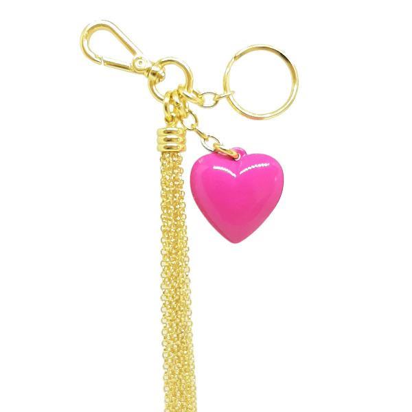 chaveiro de coração para bolsa com franja tassel de metal