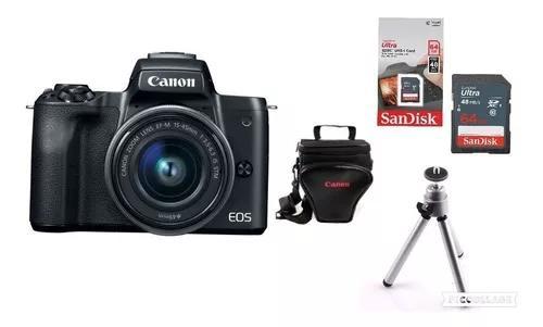 Câmera Canon Eos M50 C/ 15-45mm + Bolsa + Tripé + 64gb