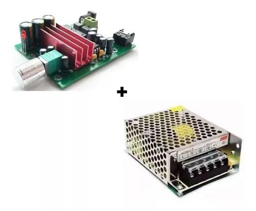 Kit Amplificador Subwoofer 100w Rms Cx Ativa + Fonte 24v 5a