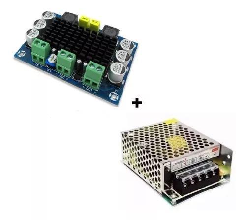 Kit Placa Amplificador 120w Rms + Fonte 24v Caixa Ativa
