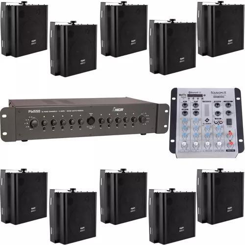 Kit Som Ambiente 10 Setores Mesa Usb Amplificador 10 Caixas
