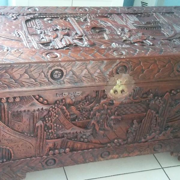 antiguidade - antigo baú/arca chinês em madeira sândalo