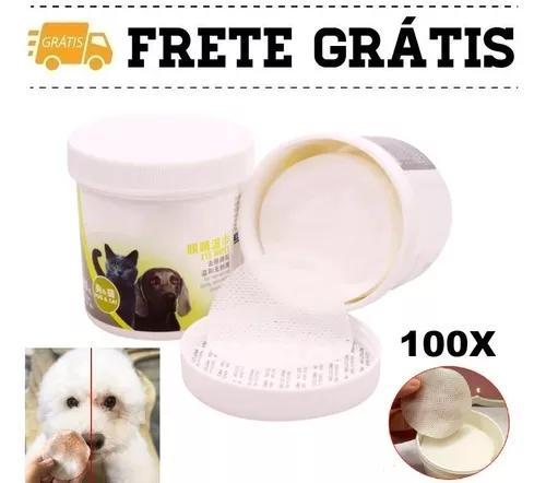 100 Lenços Limpeza Profunda Lágrima Ácida Pet Cachorro