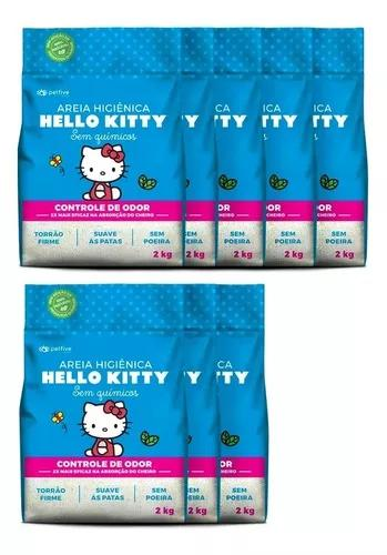 Areia Higiênica Hello Kitty Clássica Azul Gatos 16kg