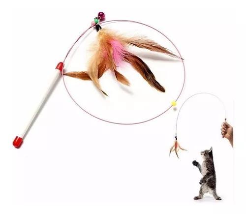 Brinquedo Para Gato! Varinha Com Pena Natural E Chocalho