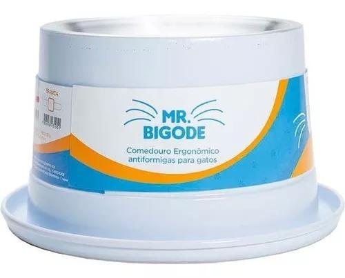 Comedouro Antiformiga P/ Gatos Mr. Bigode Junior Branco Nf