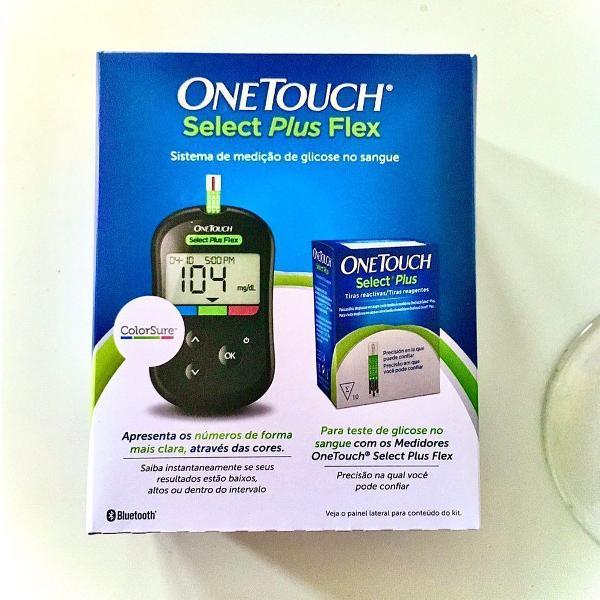 aparelho + 10 tiras medidor de glicose + estojo