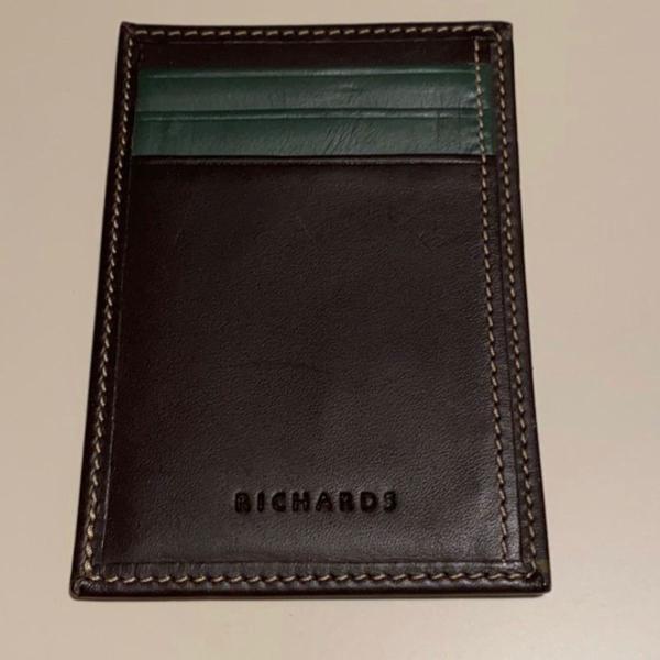 porta cartão de couro richards
