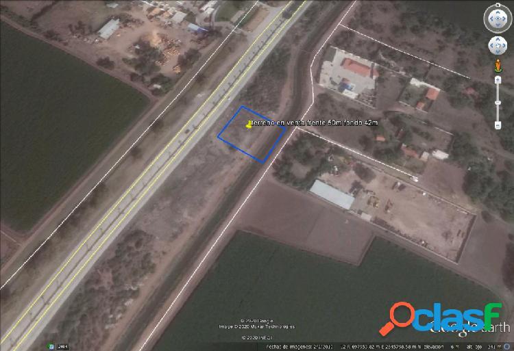 se vende terreno carretera Los Mochis- Topolobampo